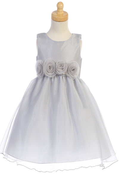 Girls Silver Crystal Organza Holiday Dress w. Rosette Trim C517