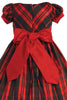 BACK of Modern Plaid Little Girls Holiday Dress w Front Bow C532