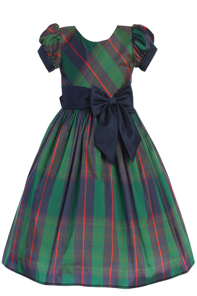 Green Modern Plaid Little Girls Holiday Dress w Navy Blue Trim C532