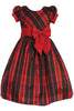 Red Modern Plaid Little Girls Holiday Dress w Front Bow C532