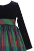 Green Modern Plaid & Black Stretch Velvet Long Sleeve Girls Holiday Dress C-534