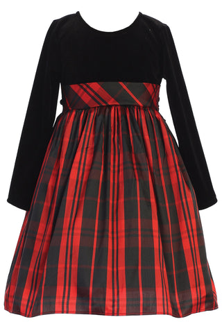 Red Modern Plaid & Black Stretch Velvet Long Sleeve Girls Holiday Dress C-534