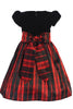 BACK Red Modern Plaid Girls Holiday Dress w Black Velvet Bodice C535