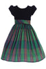 Green Modern Plaid Girls Holiday Dress w Black Velvet Bodice C535