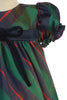 Green Plaid & Navy Blue Trim Baby Girls Holiday Dress C537