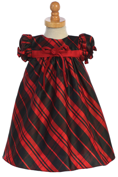 Red Plaid Baby Girls Holiday Dress w Velvet Front Bow C537