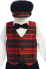 Red Modern Plaid Vest & Black Velvet Knickers Boys Set with Hat C568