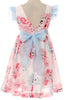 Girls Ivory & Pink Cotton Floral Dress w. Ruffle Sleeves C112