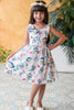 Girls Tropical Birds Cotton Dress w. Shoulder Bows C115