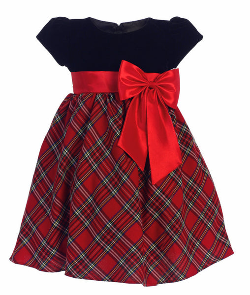 608071802698 Red Plaid Girls Holiday Dress w. Black Velvet Bodice   Bow 3m-10 ...
