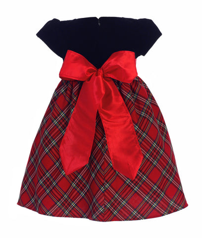 Red Plaid Girls Holiday Dress w. Black Velvet Bodice & Bow  C510