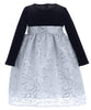 Silver Corded Sequin Tulle Girls Dress w. Black Velvet Bodice 6M-10  C514