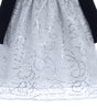 Silver Corded Sequin Tulle Girls Holiday Dress w. Black Velvet Bodice 6M-10  C514
