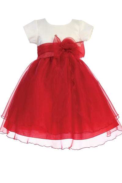 Ivory & Red Girls Crystal Organza Formal Dress w. Tiered Skirt C516