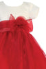 Ivory & Red Girls Crystal Organza Holiday Dress w. Tiered Skirt C516