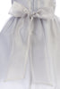 BACK of Crystal Organza Overlay Girls Holiday Dress w Floral Front Waist C517