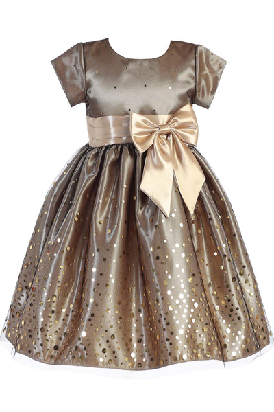Gold Confetti Tulle & Satin Girls Holiday Party Dress C518 #confetticutie