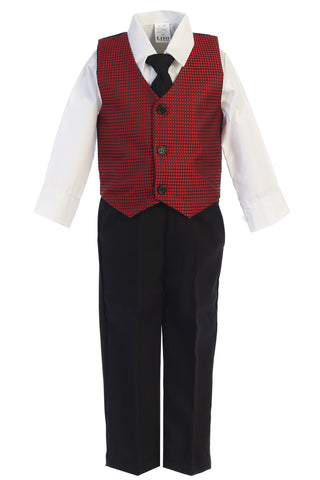 Boys Red & Black Holiday Pants Set w. Jacquard Vest C563