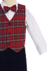 Red Plaid Vest & Black Velvet Knickers Boys Set with Hat  C564