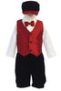 Boys Red Jacquard Vest & Black Velvet Shorts Holiday Set w. Hat C567