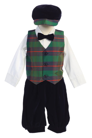Green Modern Plaid Vest & Black Velvet Knickers Boys Set with Hat C568