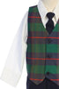 Green Modern Plaid Vest & Navy Pants Boys Dresswear Set C569