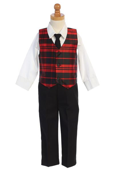 Red Modern Plaid Vest & Black Pants Boys Dresswear Set C569
