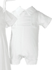 2-in-1 Cotton Sateen Boys Convertible Christening Gown & Romper  CB425G