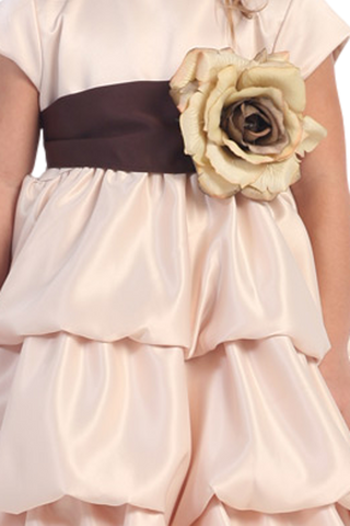 CHOCOLATE - BL90S SATIN SASH & FLOWER PIN