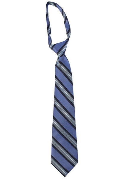 Boys Blue Diagonal Stripe Zipper Necktie  LCT1