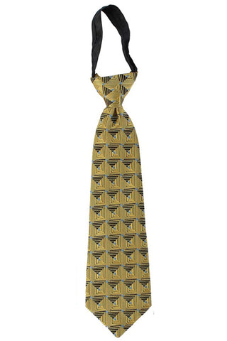 Boys Gold Geometric Pattern Zipper Tie  LCT5
