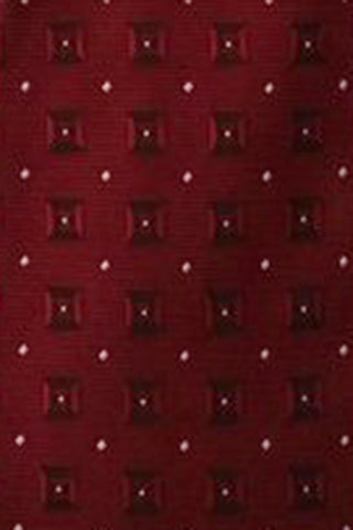 Boys Burgundy Dimensional Squares & Dots Zipper Tie  LCT7
