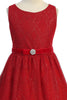 Girls Red Mesh Gatsby Dress with Glittering Gold Deco Pattern KDC102
