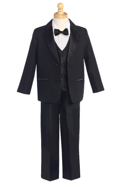 Boys Black 2-Button Tuxedo w. Vest & Bow Tie Color Choice 7595