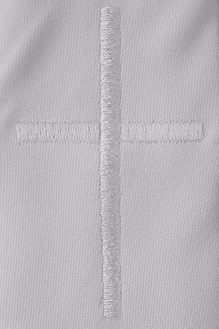 White Embroidered Cross Boys Communion Zipper Tie  LEM1