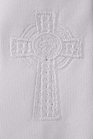 White Embroidered Celtic Cross Boys Zipper Tie  LEM5