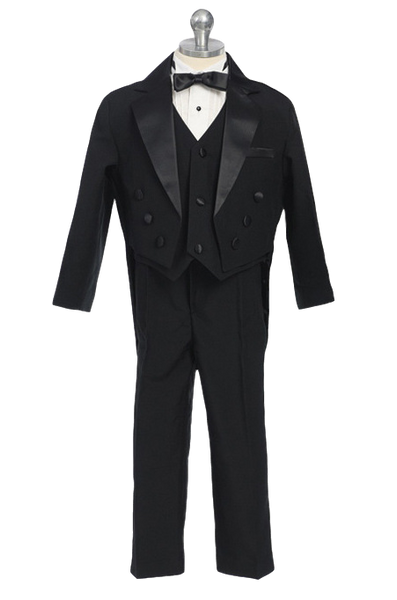 (Sale) Boys Size 2T Black Round Tail Satin Trim Tuxedo w. Vest & Bow Tie