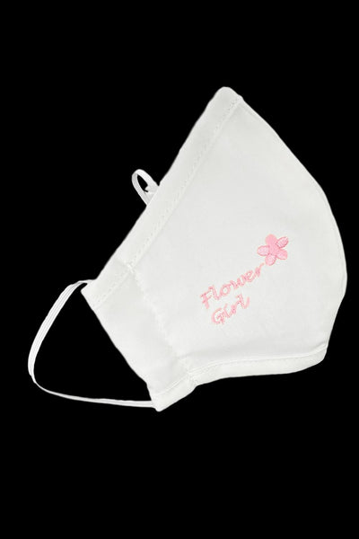 White w. Pink Embroidery Flower Girl Face Mask 100% Washable Cotton