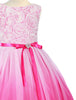 Fuchsia Pink Ombré Tulle Girls Dress with Rosette Bodice  KD322