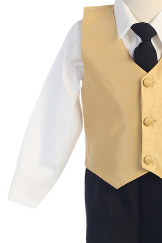 Gold & Black 4-pc Boys Vest & Pants Dresswear Set  G823