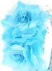Aqua Blue Girls Organza & Satin Double Flower Headband HB030