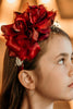 Burgundy Girls Organza & Satin Double Flower Headband HB030