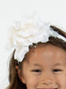 Girls Ivory Organza & Satin Double Flower Headband HB030