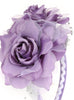Girls Lilac Organza & Satin Double Flower Headband HB030