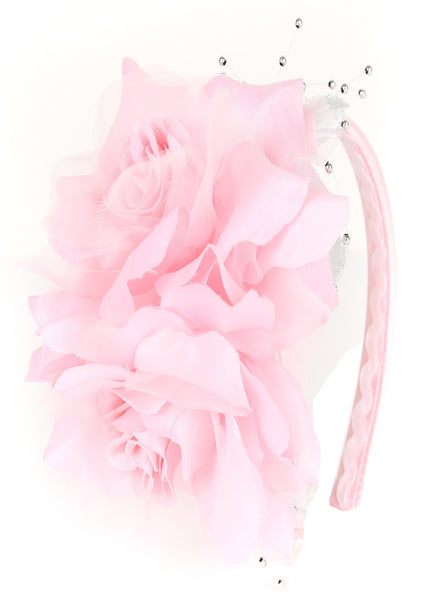 Girls Pink Organza & Satin Double Flower Headband HB030