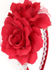 Girls Red Organza & Satin Double Flower Headband HB030
