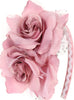 Rose Pink Girls Organza & Satin Double Flower Headband HB030