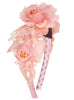 Girls Rose Pink Multi-Flowered Headband with Pearl Sprigs HB034