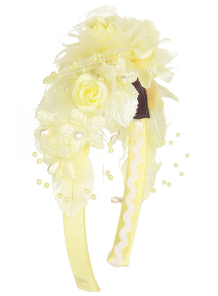 Girls Yellow Multi-Flowered Headband with Pearl Sprigs HB034