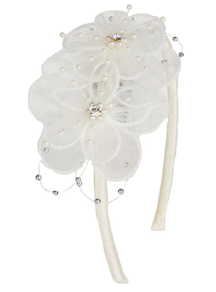 Girls Ivory Organza Flower Headband w. Pearls & Gems  HB036
